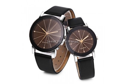Solid Mirror Artificial Diamond Couple Watch (2 Watch)